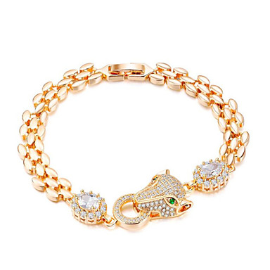 levne Dámské šperky-Dámské Zlatá Kubický zirkon Řetězové & Ploché Náramky Klasika Šťastný Módní Titanová ocel Náramek šperky Zlatá Pro Dar Denní / Umělé diamanty