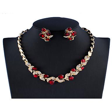 levne Dámské šperky-Dámské Černá Červená Bílá Svatební šperky Soupravy Link / řetězec Leaf Shape Botanický motiv stylové Jednoduchý Štras Náušnice Šperky Bílá / Černá / Červená Pro Svatební Párty Zásnuby Dar 1 sada