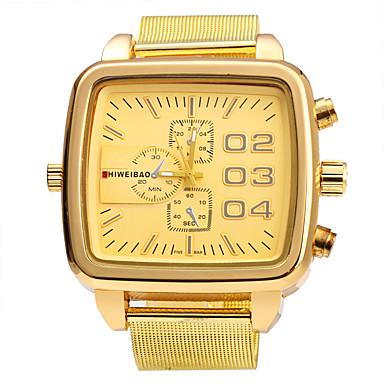 levne Pánské-SHI WEI BAO Pánské Vojenské hodinky Křemenný Nerez Zlatá Velký ciferník Analogové Vintage Módní - Zlatá Jeden rok Životnost baterie
