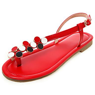 levne Dámské boty s plochou podrážkou-Dámské Bez podpatku Rovná podrážka Otevřený palec Umělá kůže Jaro léto Černá / Bílá / Červená