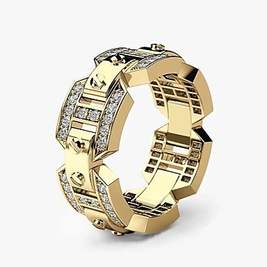 voordelige Herensieraden-Heren Bandring Ring Kubieke Zirkonia 1pc Wit Geel Goud Rose Koper Verguld Roos verguld Geometrische vorm Stijlvol Luxe Feest Lahja Sieraden Mes rand Cool