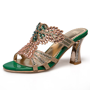 levne Dámské sandály-Dámské PU Léto Klasické / Bristké Sandály Rozšiřující se Otevřený palec Štras Zlatá / Zelená / Party