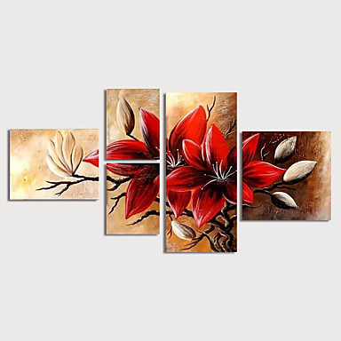 cheap Wall Art-Oil Painting Hand Painted - Floral / Botanical Modern Stretched Canvas / Five Panels