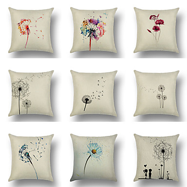 cheap Decorative Pillows-Cushion Cover 1PC Linen Soft Decorative Square Throw Pillow Cover Cushion Case Pillowcase for Sofa Bedroom 45 x 45 cm (18 x 18 Inch) Superior Quality Mashine Washable Pack of 1