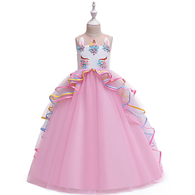 Baby & Kids-Kids Girls' Vintage Sweet Unicorn Color Block Layered Patchwork Sleeveless Maxi Dress Blushing Pink