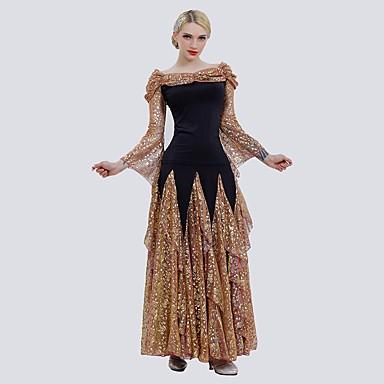 povoljno Odjeća i obuća za ples-Klasični plesovi Outfits Žene Seksi blagdanski kostimi Til / Umjetna svila Uzorak / print / Blistati Dugih rukava Suknje / Top