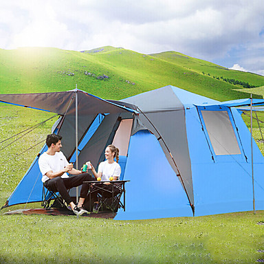 Shamocamel® 4 person Tält med flera rum Automatisk Tält Familj Camping Tält Utomhus Vindtät Solskyddskräm Andningsfunktion Dubbelt lager Automatisk Tält med flera rum Tält 2000-3000 mm för Fiske