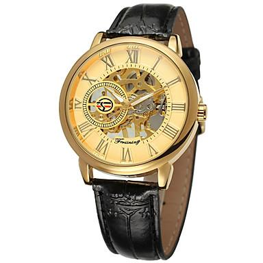 levne Pánské-FORSINING Pánské mechanické hodinky Automatické natahování Pravá kůže Černá S dutým gravírováním Hodinky na běžné nošení Analogové Módní Kostra - Černá Stříbrná zlatá + černá