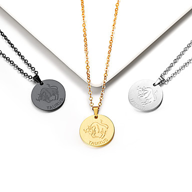 levne Dámské šperky-Dámské Náhrdelníky s přívěšky Náhrdelník Charm náhrdelník Mince Taurus Gemini Jednoduchý Moderní Módní Pozlaceno 18k Titanová ocel Zlatá Černá Stříbrná 55 cm Náhrdelníky Šperky 1ks Pro Promoce Dar