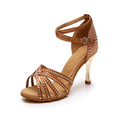 abordables Chaussures de Danse-Femme Chaussures de danse Satin Chaussures Latines Strass Talon Talon transparent plaqué or Personnalisables Marron / Utilisation / Cuir