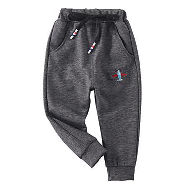 povoljno Odjeća za dječake-Djeca Dječaci Osnovni Ulični šik Jednobojni Vezeno Pamuk Hlače Crn