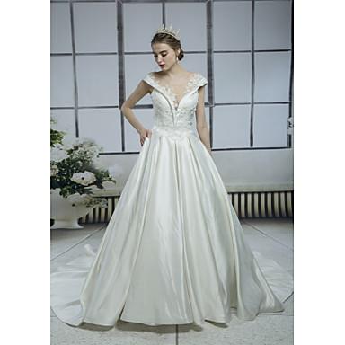 Γραμμή Α Bateau Neck Μακριά ουρά Σατέν Ιμάντες Λάμψη & Στυλ / Με Όμορφη Πλάτη Φορέματα γάμου φτιαγμένα στο μέτρο με Χάντρες / Διακοσμητικά Επιράμματα / Δαντέλα 2020