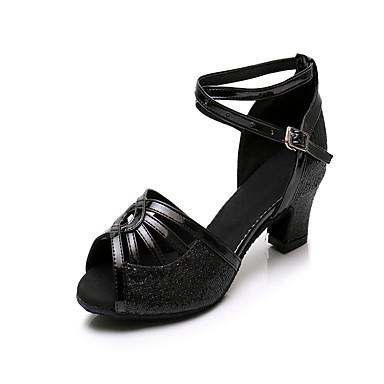 Mulheres Sapatos de Dança Sintéticos Sapatos de Dança Latina Lantejoula Salto Salto Grosso Personalizável Preto / Espetáculo