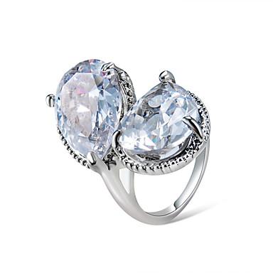 billige Motering-Dame Ring Krystall 1pc Sølv Chrome Statement Unikt design trendy Fest Gave Smykker Pære Kul