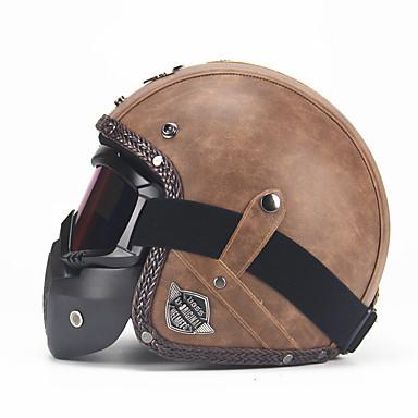 billige Motorsykkelhjelmer-unisex pu lær hjelmer 3/4 motorsykkel chopper sykkel hjelm åpen ansikt vintage motorsykkel hjelm med goggle mask