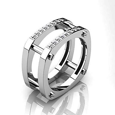 billige Motering-Herre Band Ring Ring Kubisk Zirkonium 1pc Hvit Gul Kobber Gullbelagt Geometrisk Form Stilfull Luksus Fest Gave Smykker Kul
