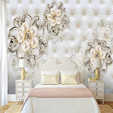 cheap Wall Art-Soft bag of pearl flowers Suitable for TV Background Wall Wallpaper Murals Living Room Cafe Restaurant Bedroom Office XXXL(448*280cm