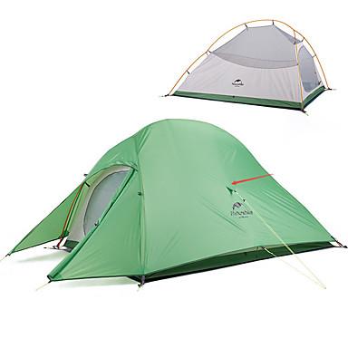 preiswerte Zelte & Unterkünfte-Naturehike 2 Personen Zelte für Rucksackreisen Außen Windundurchlässig Regendicht Rasche Trocknung Doppellagig Stange Camping Zelt >3000 mm für Silica Gel Oxford Tuch 210*125*100 cm