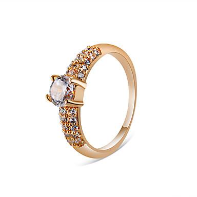 billige Motering-Dame Ring Løftering Krystall 1pc Rose Gull Gullplatert rose Fuskediamant Legering Fire tenger Stilfull Klassisk Elegant Fest Engasjement Smykker