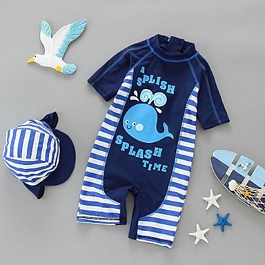 preiswerte Badebekleidung für Jungen-Kinder Jungen Gestreift Baumwolle Bademode Blau