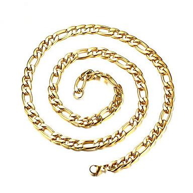 levne Pánské šperky-Pánské Náhrdelník Klasika Šťastný Módní Titanová ocel Zlatá 76 cm Náhrdelníky Šperky 1ks Pro Dar Denní