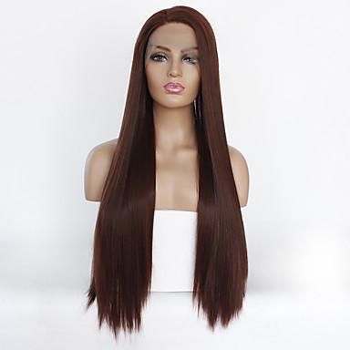 Syntetisk blonder foran parykker Rett Kardashian Stil Lagvis frisyre Blonde Forside Parykk Mørkebrun Beige Syntetisk hår Dame Varme resistent Mørkebrun Parykk Lang / Ja