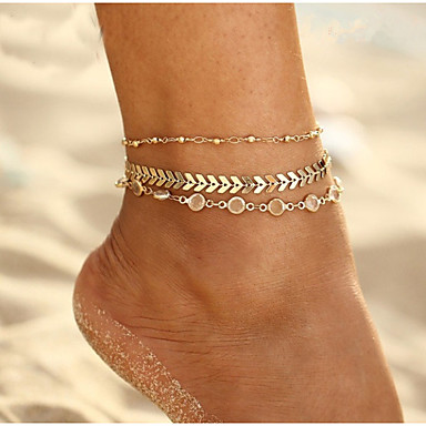 levne Dámské šperky-Dámské Kubický zirkon kotník náramek šperky na nohy Vícevrstvé Plážový motiv Arrow Klasické Vintage Evropský Geleneksel Cikánský Nákotník Šperky Zlatá Pro Denní Karneval Street Dovolená / 3ks
