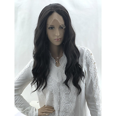 cheap Synthetic Lace Wigs-Wavy Matte Layered Haircut Lace Front Wig Medium Length Medium Brown Synthetic Hair 20 inch Women's Fashionable Design Party Women Black
