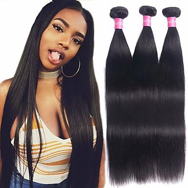 povoljno Ekstenzije od ljudske kose-3 paketa Brazilska kosa Ravan kroj Virgin kosa Wig Accessories Ljudske kose plete Bundle kose 8-28 inch Prirodna boja Isprepliće ljudske kose Odor Free Sexy Lady Cool Proširenja ljudske kose