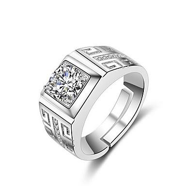 levne Pánské šperky-Pánské manžeta Ring Otevřete kruh Nastavitelný kroužek 1ks Stříbrná Mosaz Štras Postříbřené Čtvercový stylové Jednoduchý Denní Práce Šperky Klasika Drahocenný Cool