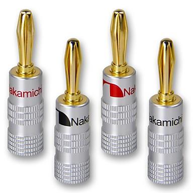 levne Elektrické vybavení-4ks 24k zlato nakamichi reproduktor banán konektor audio jack konektor