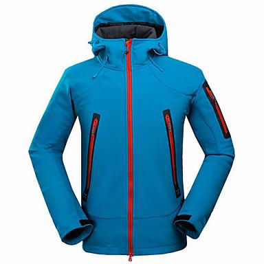 สำหรับผู้ชาย Hiking Softshell Jacket Hiking Jacket กลางแจ้ง ฤดูใบไม้ผลิ ตก กันน้ำ รักษาให้อุ่น กันลม ป้องกันการสึกหรอ เสื้อแจ็คเก็ต Tops ผ้าขนแกะ ความยาวของซิปรูดที่เห็นได้ชัดแบบเต็ม / ฤดูหนาว
