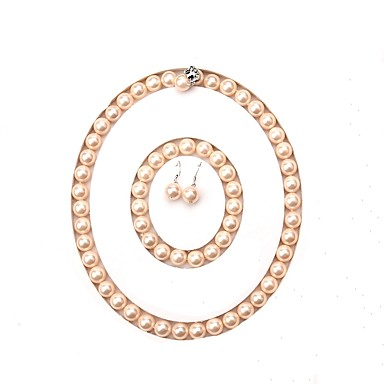 levne Dámské šperky-sladkovodní perla klasické šperky set - perla požehnal jednoduchý styl, móda, luxusní růžová pro události / party party ženy \ t