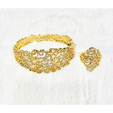 levne Dámské šperky-Dámské Zlatá Kotníkové náramky Svatební šperky Soupravy Otevřete kruh Strom života Kytky Botanický motiv Jednoduchý Klasické Gothic Lolita Afrika Náušnice Šperky Zlatá Pro Vánoce Svatební Párty