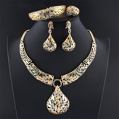 levne Dámské šperky-Dámské Zlatá Svatební šperky Soupravy Link / řetězec Botanický motiv Vintage Štras Náušnice Šperky Zlatá Pro Svatební Zásnuby Dar 1 sada