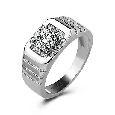 billige Motering-Herre Band Ring Ring Kubisk Zirkonium 1pc Hvit Kobber Geometrisk Form Stilfull Luksus Fest Gave Smykker Klassisk Kul
