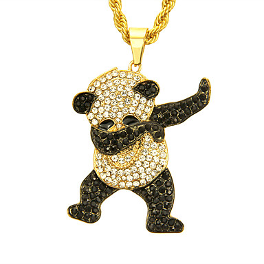 voordelige Herensieraden-Heren Kubieke Zirkonia Hangertjes ketting Panda Europees modieus Rock Modieus Kromi Goud Zilver 76 cm Kettingen Sieraden 1pc Voor Dagelijks Straat Club
