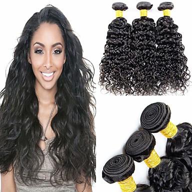 povoljno Ekstenzije od ljudske kose-6 paketića Brazilska kosa Water Wave Remy kosa Ljudske kose plete Bundle kose Jedan Pack Solution 8-28 inch Prirodna boja Isprepliće ljudske kose Cosplay Jednostavan dressing Moda Proširenja ljudske