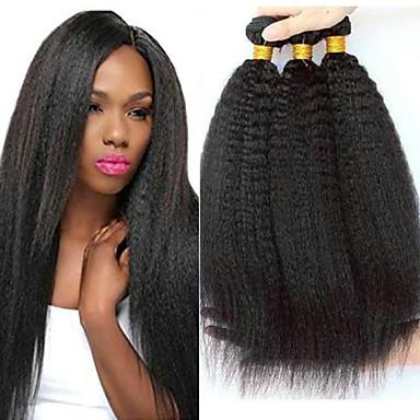 povoljno Ekstenzije od ljudske kose-3 paketa Malezijska kosa Yaki Yaki Straight Netretirana  ljudske kose 100% Remy kose tkanja Bundle Headpiece Bundle kose Ekstenzije od ljudske kose 8-28 inch Prirodna boja Isprepliće ljudske kose
