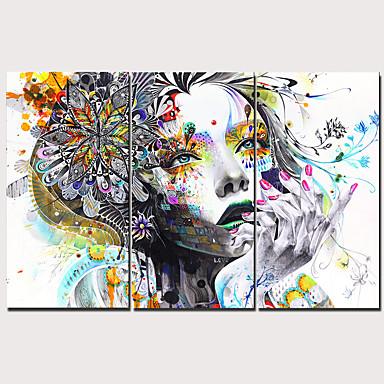 povoljno Printevi-Print Stretched Canvas Prints - Ljudi Tradicionalno Moderna Tri plohe Umjetničke grafike