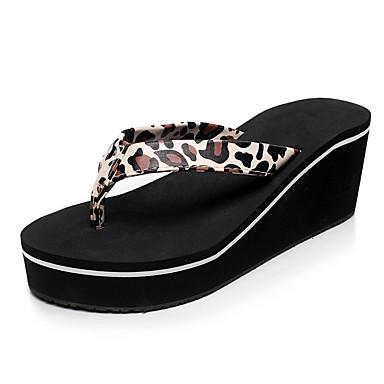 voordelige Damespantoffels & slippers-Dames PU Zomer Informeel / minimalisme Slippers & Flip-Flops Wandelen Sleehak Goud / Zwart / Luipaard