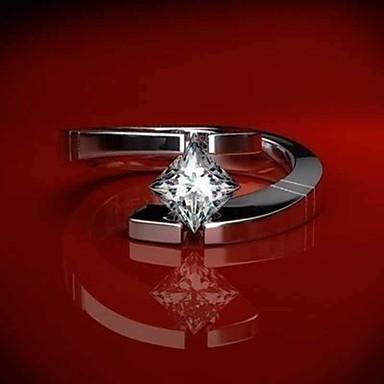 billige Motering-Dame Band Ring Statement Ring Kubisk Zirkonium 1pc Hvit Kobber Geometrisk Form trendy Fest Gave Smykker Fisk Kul