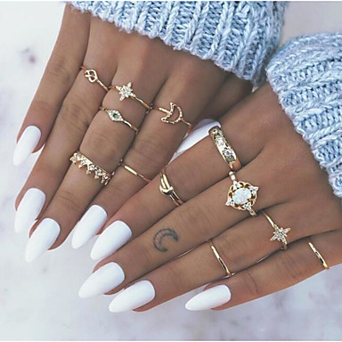 cheap Rings-Women's Ring Ring Set Midi Rings 13pcs Gold Alloy Daily Festival Jewelry