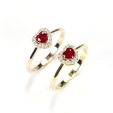 127b2fbc3352 Mujer Rojo Circonita Anillo de banda Anillo Anillo para los Nudillos Chapado  en Plata Rosa Oro Plateado Diamante Sintético Corazón Elegante Simple  Europeo ...