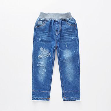povoljno Odjeća za dječake-Djeca Dječaci Osnovni Ulični šik Jednobojni Color block Izrezati Rupica ripped Pamuk Traperice Plava / Vezeno