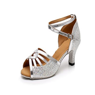 preiswerte Tanzschuhe-Damen Tanzschuhe Kunststoff Schuhe für den lateinamerikanischen Tanz Pailetten Absätze Kubanischer Absatz Maßfertigung Silber / Leistung