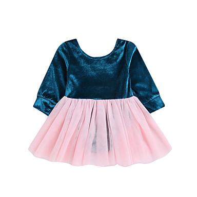 povoljno Odjeća za bebe-Dijete Djevojčice Osnovni Jednobojni / Kolaž Dugih rukava Pamuk Haljina Blushing Pink / Dijete koje je tek prohodalo