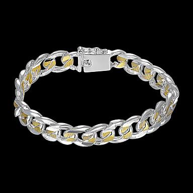 levne Pánské šperky-Pánské Řetězové & Ploché Náramky Široký náramek Vystřižený Drahocenný stylové Mosaz Náramek šperky Stříbrná Pro Denní Práce / Postříbřené