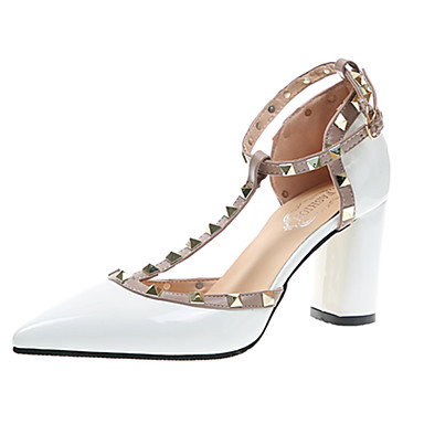 cheap Women's Heels-Women's Faux Leather Spring & Summer British Heels Chunky Heel Pointed Toe Rivet / Buckle White / Black / Gray