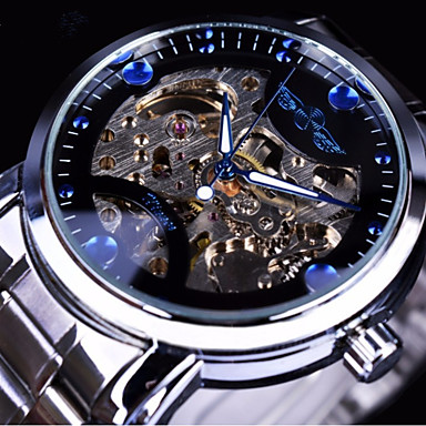cheap Mechanical Watches-Men's Mechanical Watch Automatic self-winding Silver / Gold Hollow Engraving Casual Watch Large Dial Analog Fashion Skeleton - Gold Blue White
